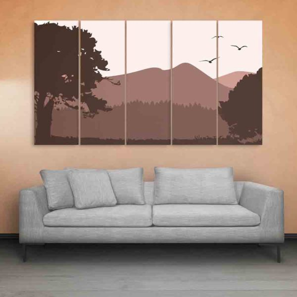 Multiple Frames Beautiful Landscape Wall Painting (150cm X 76cm)