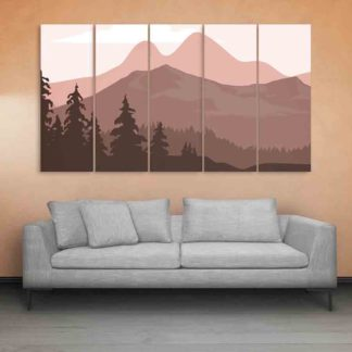 Multiple Frames Beautiful Landscape Wall Painting (150cm X 76cm)