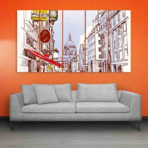 Multiple Frames London Art Wall Painting for Living Room, Bedroom, Office, Hotels, Drawing Room (150cm X 76cm)