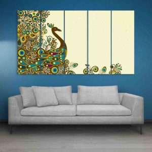 Multiple Frames Beautiful Peacock Wall Painting for Living Room, Bedroom, Office, Hotels, Drawing Room (150cm X 76cm)
