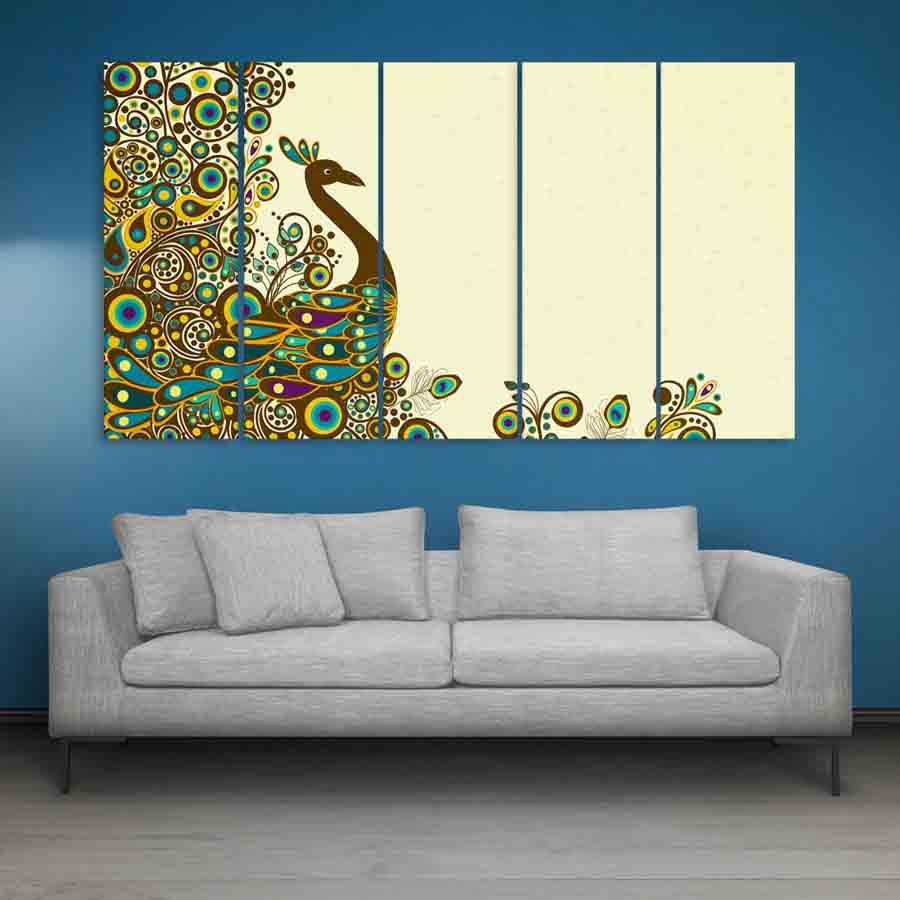 Multiple frames beautiful peacock wall painting 150cm x A wall painting