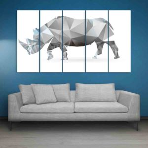 Multiple Frames Rhino Polygon Wall Painting for Living Room, Bedroom, Office, Hotels, Drawing Room (150cm X 76cm)