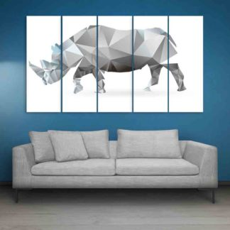 Multiple Frames Rhino Polygon Wall Painting (150cm X 76cm)