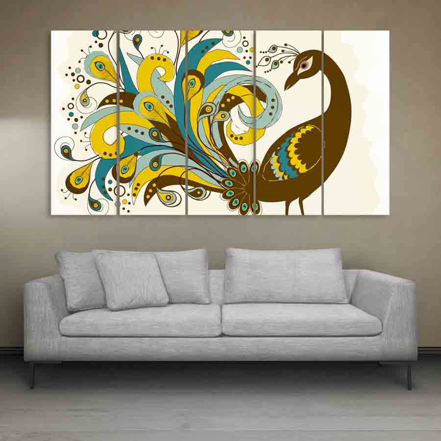Multiple Frames Beautiful Peacock Wall Painting For Living Room Bedroom Office Hotels Drawing Room 150cm X 76cm