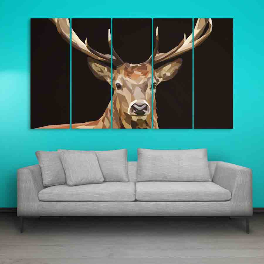 Multiple Frames Swamp Deer Wall Painting (150cm X 76cm) - Inephos