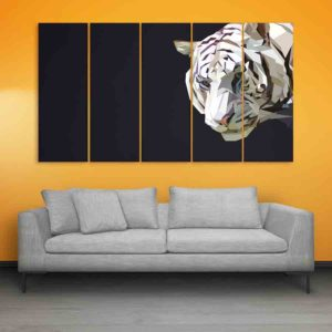 Multiple Frames Tiger polygon Wall Painting for Living Room, Bedroom, Office, Hotels, Drawing Room (150cm X 76cm)