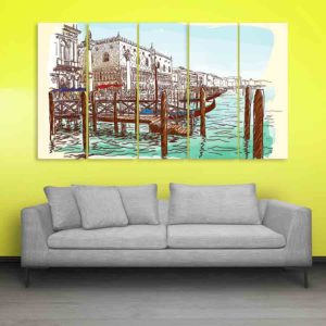 Multiple Frames Venice Italy Art Wall Painting for Living Room, Bedroom, Office, Hotels, Drawing Room (150cm X 76cm)