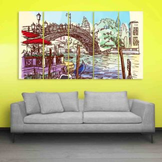 Multiple Frames Venice Italy Art Wall Painting (150cm X 76cm)