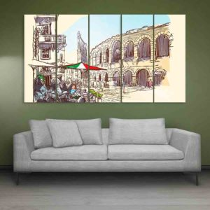 Multiple Frames Verona Italy Art Wall Painting for Living Room, Bedroom, Office, Hotels, Drawing Room (150cm X 76cm)