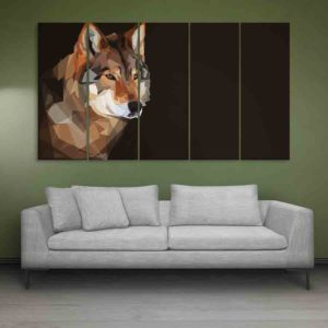 Multiple Frames Wolf Wall Painting for Living Room, Bedroom, Office, Hotels, Drawing Room (150cm X 76cm)