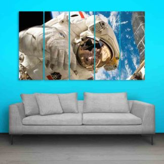 Multiple Frames Astronaut In Space Wall Painting (150cm X 76cm)