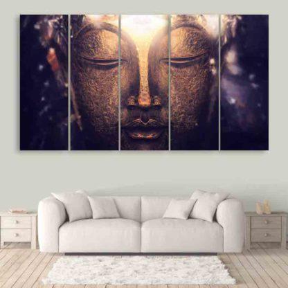 Multiple Frames Buddha Art Wall Painting (150cm X 76cm)