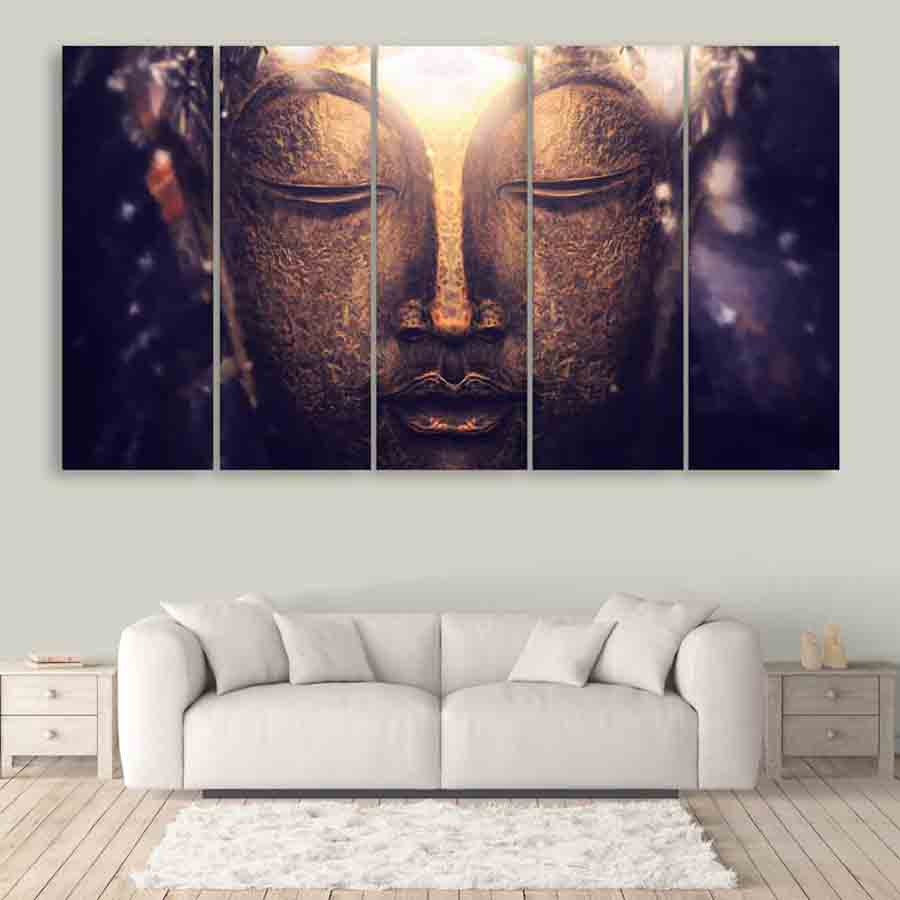 Multiple Frames Buddha Art Wall Painting for Living Room, Bedroom, Office,  Hotels, Drawing Room (150cm X 76cm)