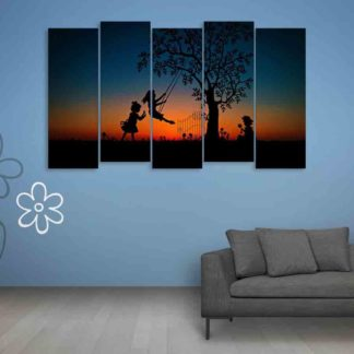 Multiple Frames Beautiful Children playing Wall Painting (150cm X 76cm)