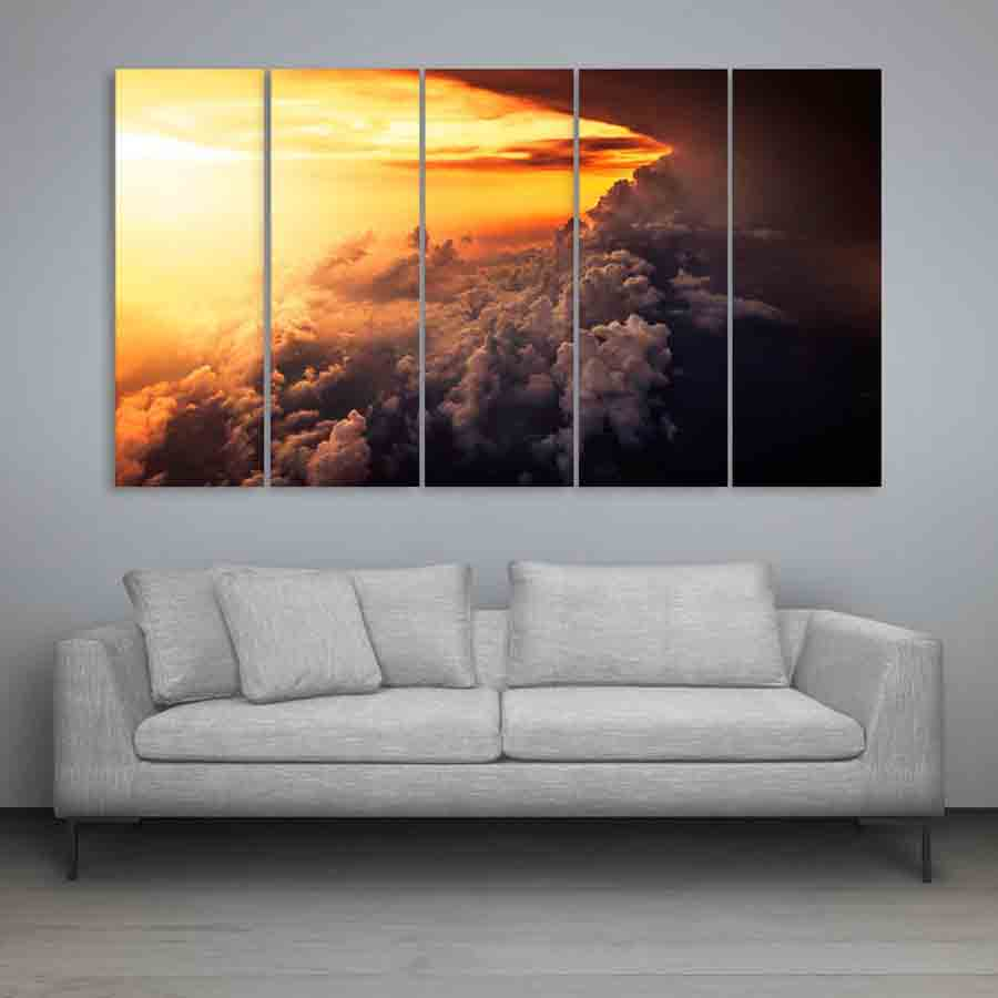 multiple frames beautiful clouds wall painting 150cm x 76cm inephos. Black Bedroom Furniture Sets. Home Design Ideas