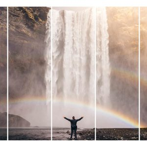 Multiple Frames Water Falls Wall Painting for Living Room, Bedroom, Office, Hotels, Drawing Room (150cm X 76cm)