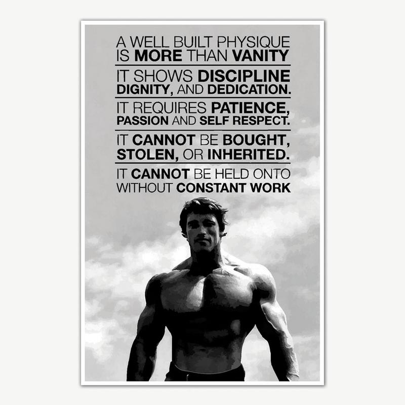 arnold schwarzenegger gym quotes poster art gym