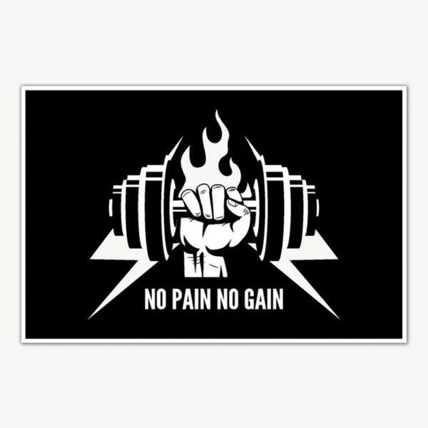 No Pain No Gain Gym Poster Art | Gym Motivation Posters