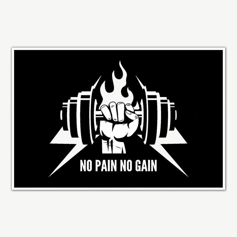 no pain no gain gym poster art gym motivation posters inephos
