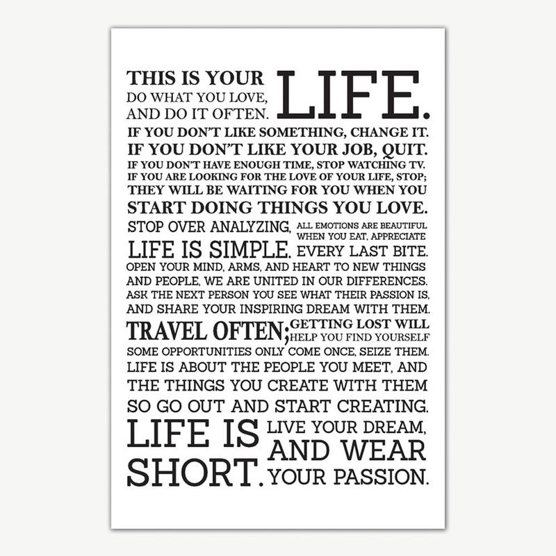 This Is Your Life Quotes Poster Art Motivational Posters For Room Mesmerizing This Is Your Life Quote Poster
