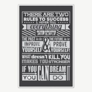 Two Rules Of Success Poster Art | Motivational Posters For Room