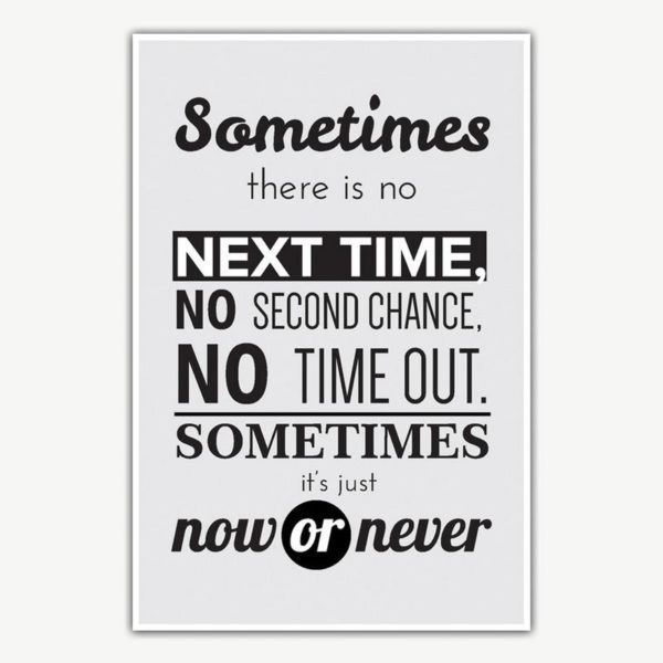 Now Or Never Quote Poster Art | Inspirational Posters