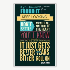 Steve Jobs Don't Settle Quote Poster | Inspirational Posters For Offices