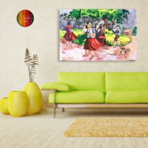 Canvas Painting – Indian Village Tribal Art Wall Painting for Living Room, Bedroom, Office, Hotels, Drawing Room (91cm X 61cm)