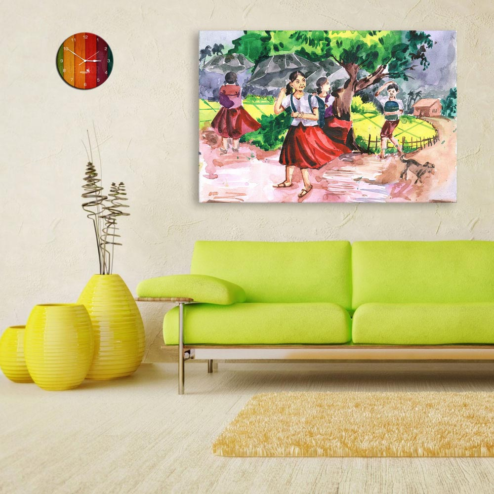 Canvas Painting Indian Village Tribal Art Wall Painting For Living Room Bedroom Office Hotels Drawing Room 91cm X 61cm