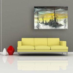Canvas Painting – Beautiful Castle Modern Abstract Art Wall Painting for Living Room, Bedroom, Office, Hotels, Drawing Room (91cm X 61cm)