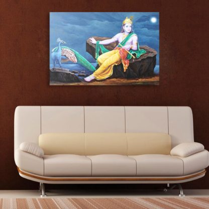 Canvas Painting Beautiful Lord Krishna Art Wall Painting For Living Room Bedroom Office Hotels Drawing Room 91cm X 61cm