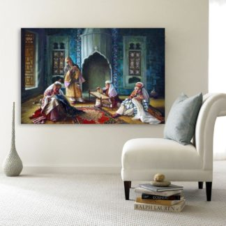 Canvas Painting - Beautiful Women Weaving Art Wall Painting for Living Room