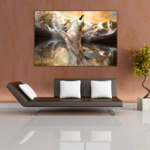Canvas Painting – Modern Abstract Art –  Wolf Nature Wall Painting for Living Room, Bedroom, Office, Hotels, Drawing Room (91cm X 61cm)