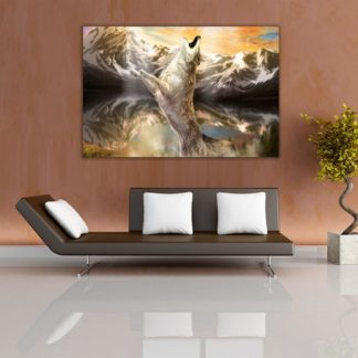 Canvas Painting - Modern Abstract Art -  Wolf Nature Wall Painting for Living Room