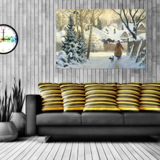 Canvas Painting - Beautiful Snow Country Side Wall Painting for Living Room