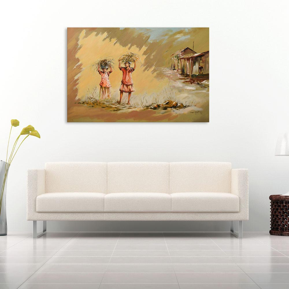 Canvas Painting - Indian Village Tribal Art Wall Painting for Living ...
