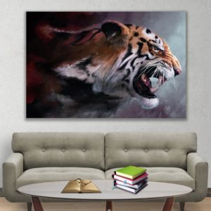 Canvas Painting – Beautiful Tiger Wildlife Art Wall Painting for Living Room, Bedroom, Office, Hotels, Drawing Room (91cm X 61cm)