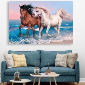 Canvas Painting – Beautiful 2 Horses Running Vastu Art Wall Painting for Living Room, Bedroom, Office, Hotels, Drawing Room (91cm X 61cm)