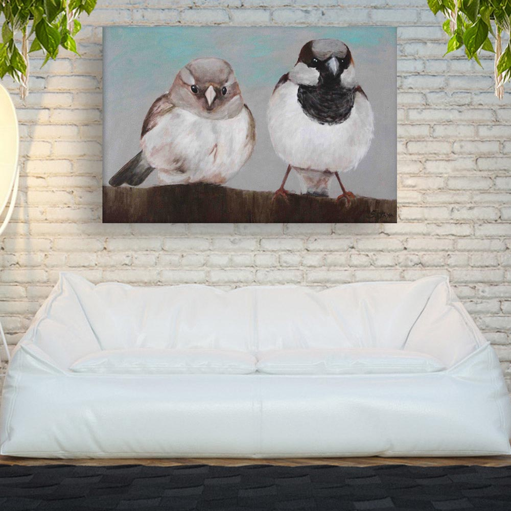 Canvas Painting Beautiful Birds Art Wall Painting For Living Room Bedroom Office Hotels Drawing Room 91cm X 61cm