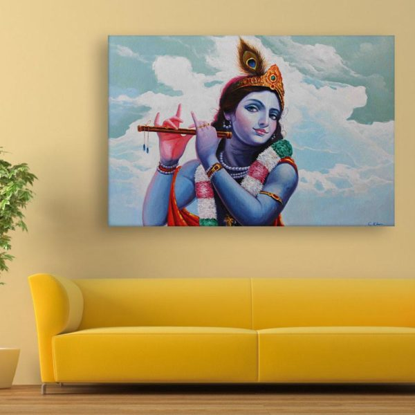 Canvas Painting - Lord Krishna Art Modern Wall Painting for Living Room