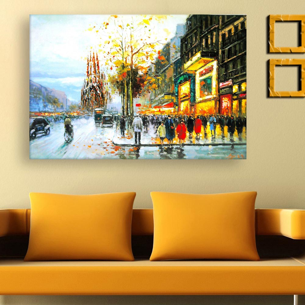 Canvas painting beautiful city landscape art wall painting for living room bedroom office for Landscape paintings for living room
