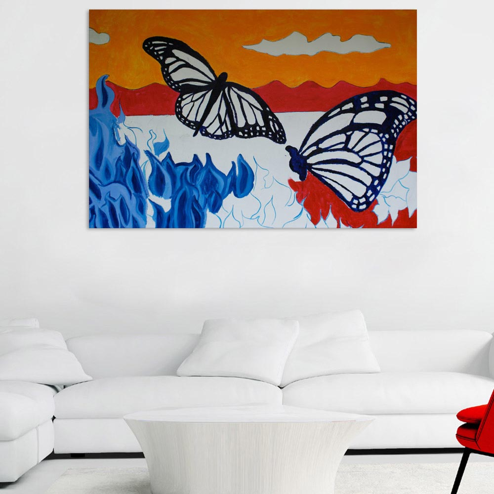 Canvas Painting Beautiful Butterflies Art Wall Painting For Living Room Bedroom Office Hotels Drawing Room 91cm X 61cm