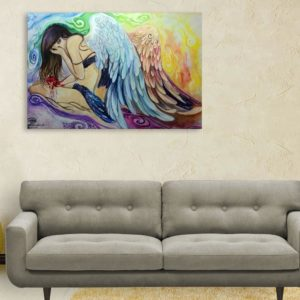 Canvas Painting – Beautiful Angel Art Wall Painting for Living Room, Bedroom, Office, Hotels, Drawing Room (91cm X 61cm)