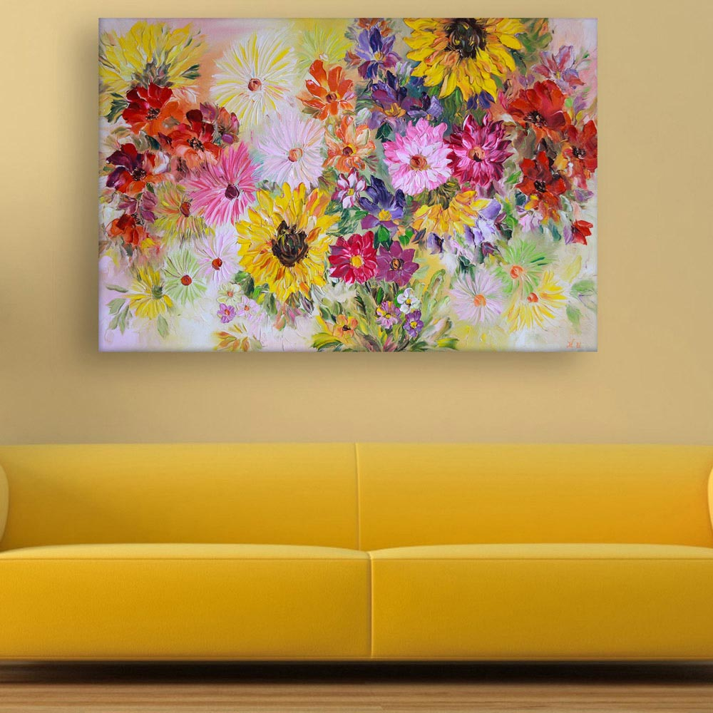 Canvas Painting - Beautiful Flowers Floral Art Wall Painting for ...