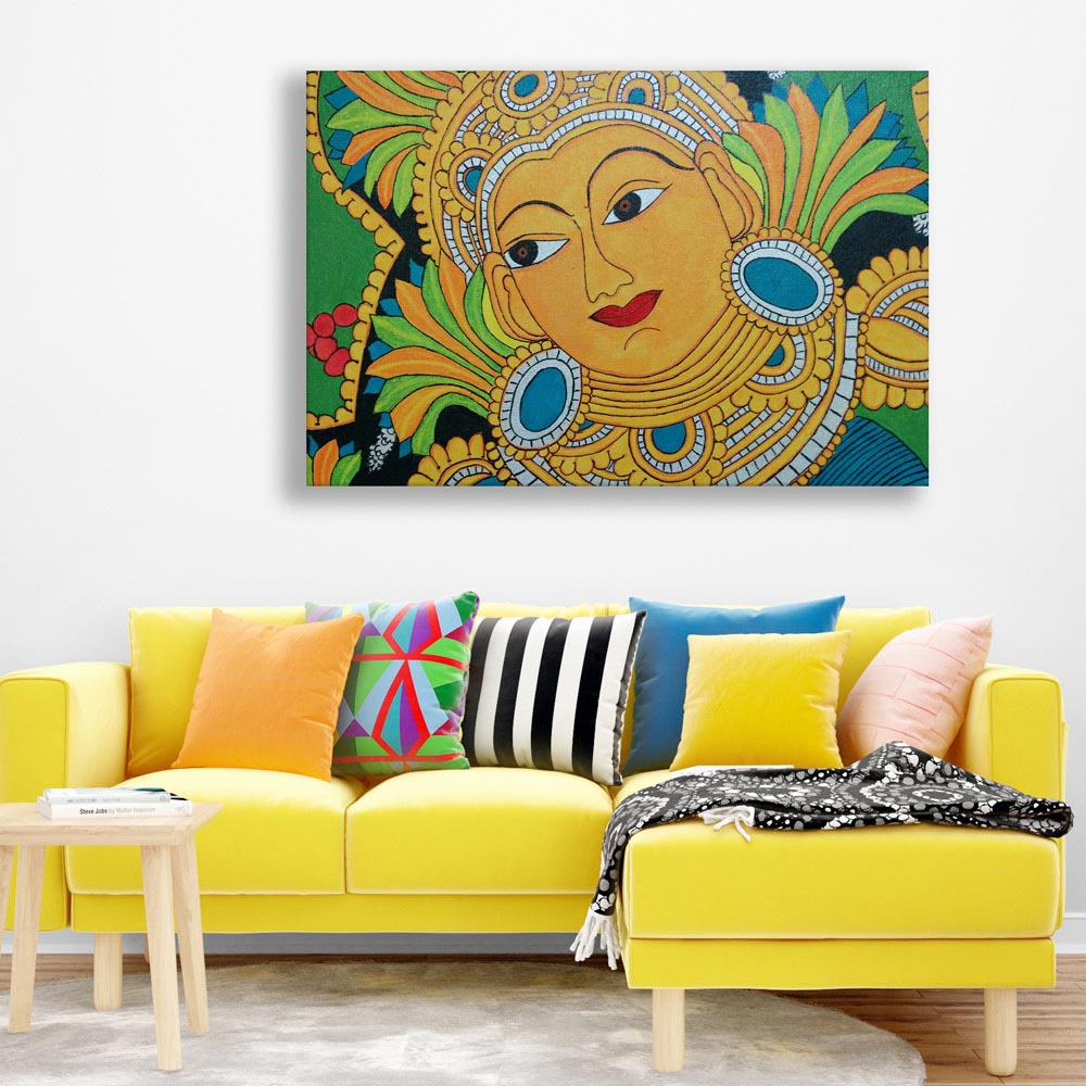 Canvas Painting Beautiful Kerala Mural Art Wall Painting For Living Room Bedroom Office Hotels Drawing Room 91cm X 61cm