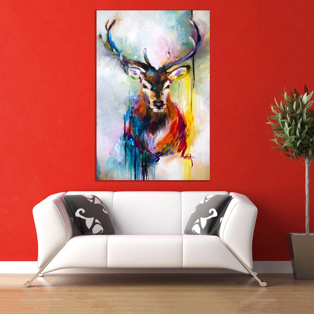 Canvas Painting Beautiful Swamp Deer Wall Painting For Living Room Bedroom Office Hotels Drawing Room 91cm X 61cm