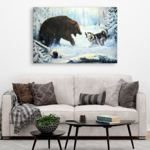 Canvas Painting – Beautiful Bear and Wolf Wildlife Art Wall Painting for Living Room, Bedroom, Office, Hotels, Drawing Room (91cm X 61cm)