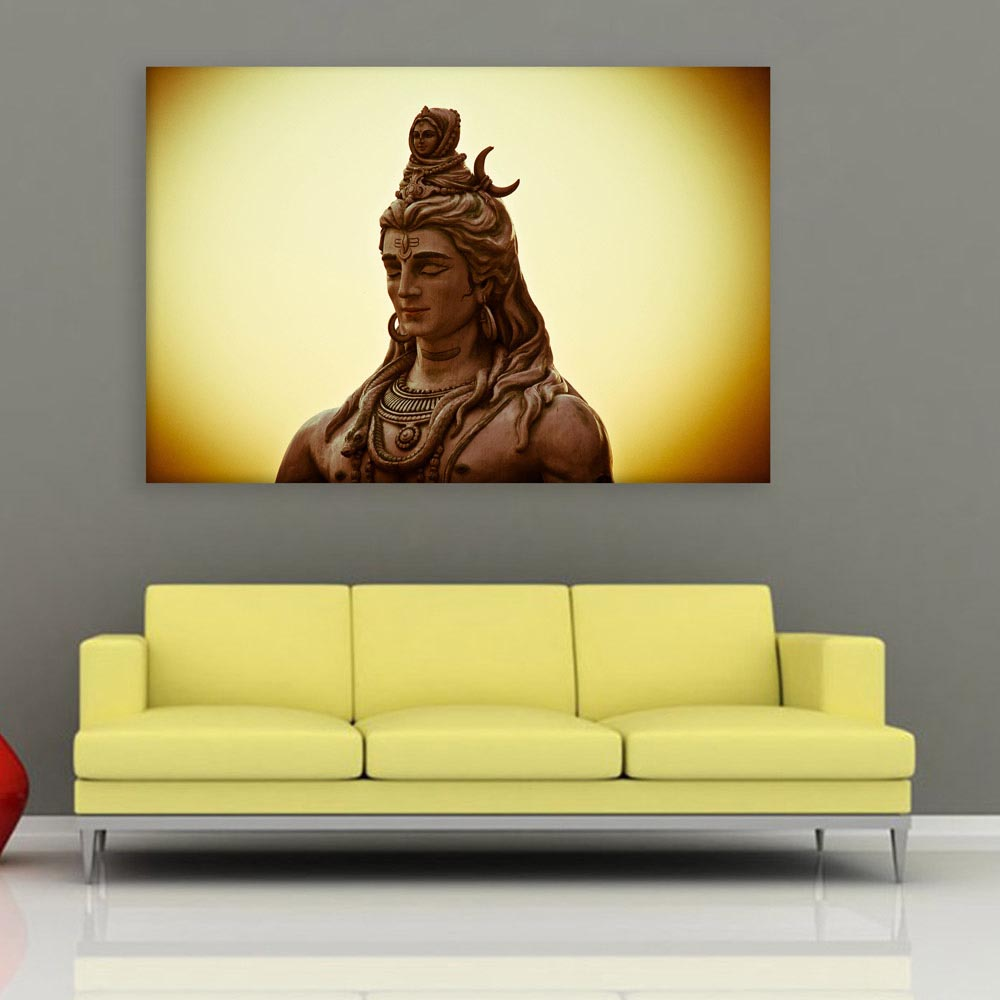 Canvas Painting - Beautiful Lord Shiva Religious Art Wall Painting ...