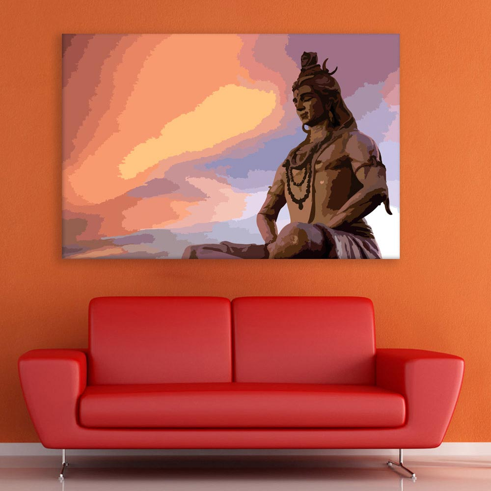 Canvas Painting Beautiful Lord Shiva Art Wall Painting For Living Room Bedroom Office