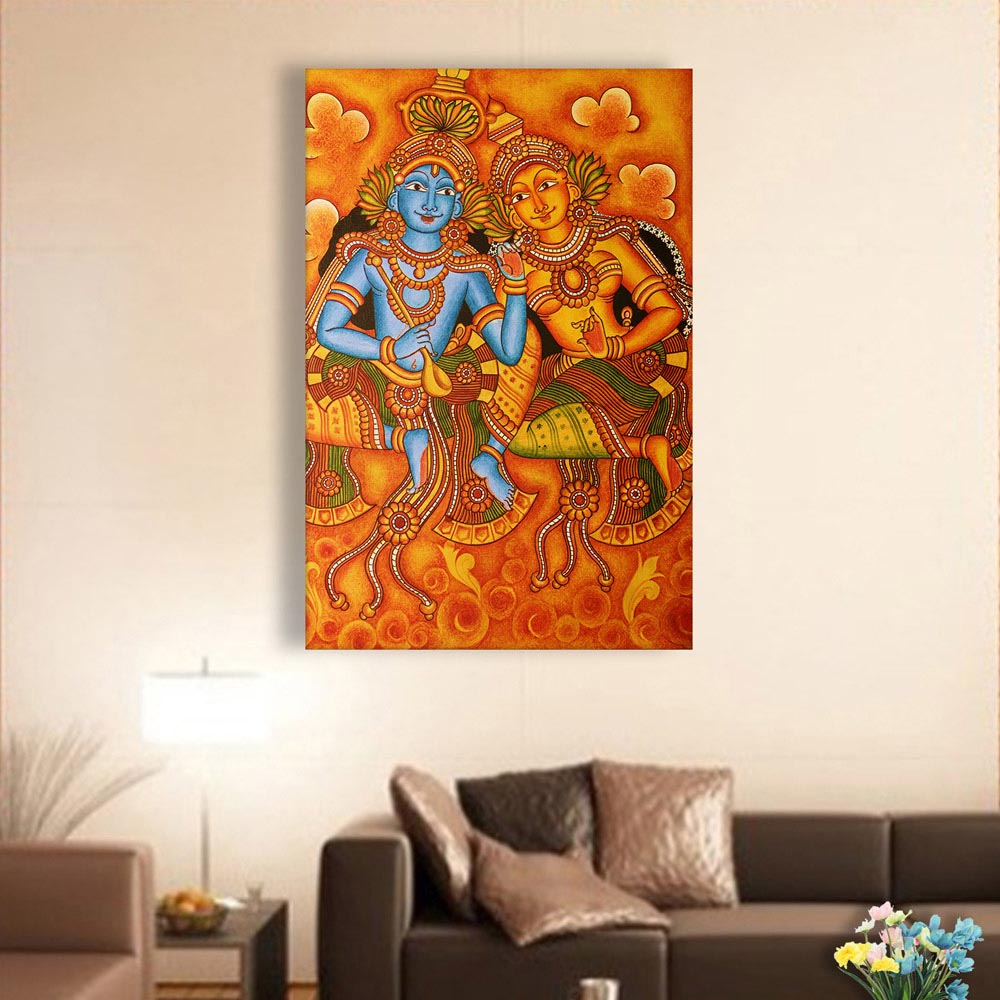 Canvas Painting Beautiful Radha Krishna Kerala Mural Art Wall Painting For Living Room Bedroom Office Hotels Drawing Room 61cm X 91cm